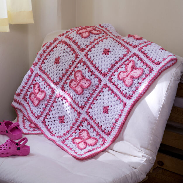 Red Heart Crochet Butterfly Throw