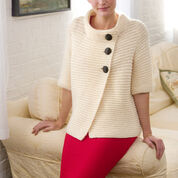 Red Heart Knit Ribbed Cardigan, S