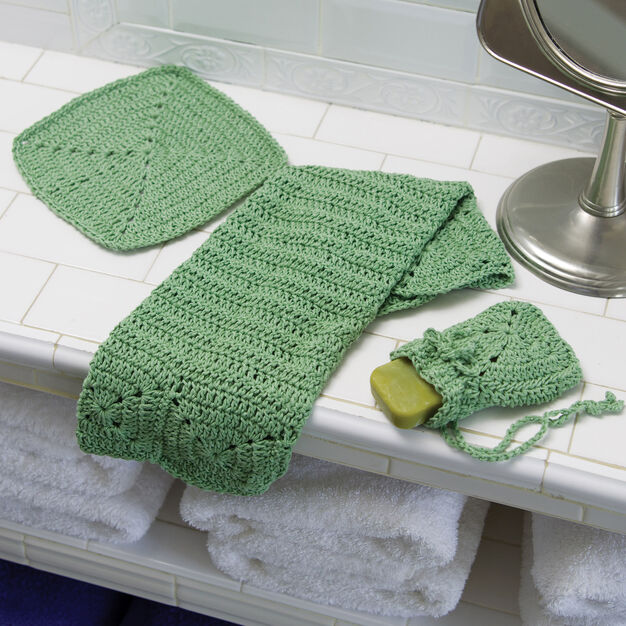 Red Heart Crochet Eco-Chic Bath Set in color