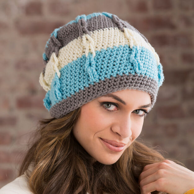 Red Heart Stripe It Slouchy Hat, S in color