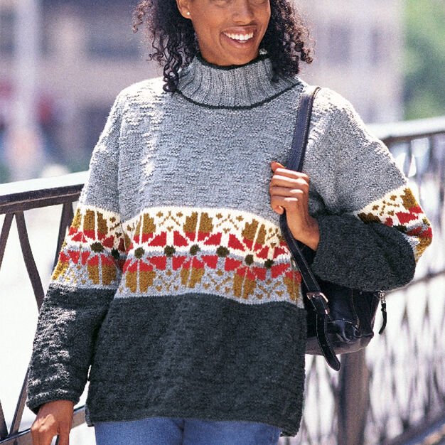 Patons Texture & Flowers pullover, S