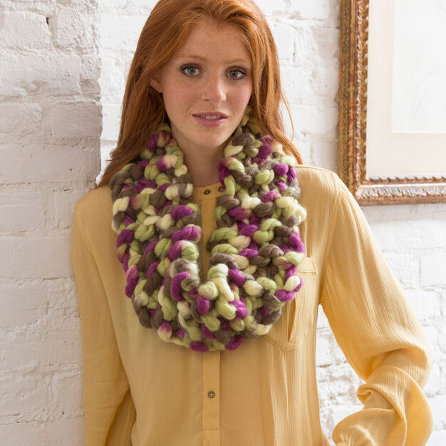 Red Heart Irresistibly Hip Cowl in color