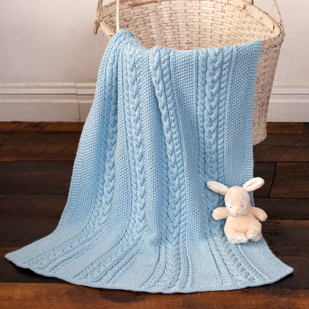 Caron Little Boy Blue Baby Blanket in color