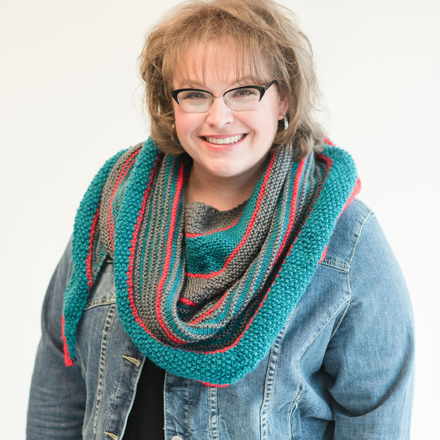 Red Heart Marly's Striped Knit Shawl in color