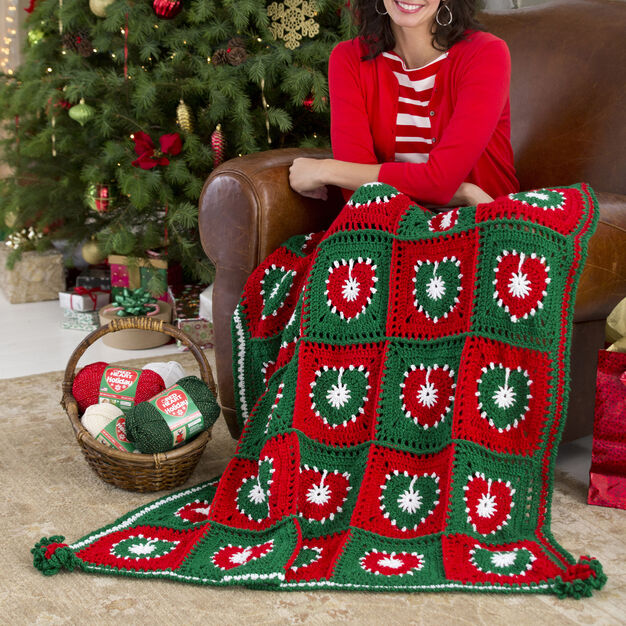 Red Heart Holiday Hearts Throw in color