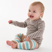 Red Heart Simple Striped Baby Legwarmers, 12 mos