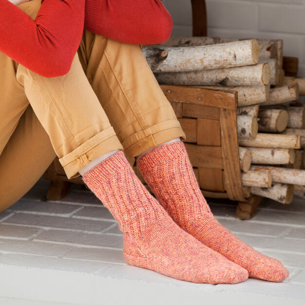 Red Heart Lacy Toe-Up Socks, Women's 7/8 in color
