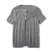 Patons Cardigan with Cabled Yoke, XS/S