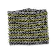 Bernat Stripe Across Crochet Cowl, True Gray/Forest