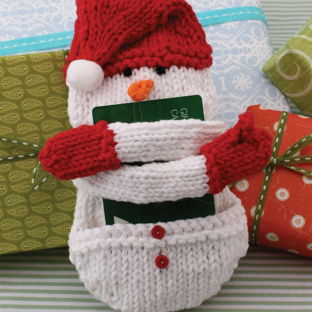 Lily Sugar'n Cream Snow Man Knit Gift Card Cozy in color