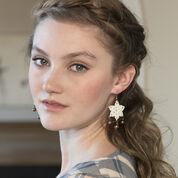 Red Heart Dangling Star Earrings
