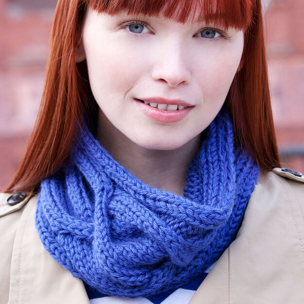 Red Heart Big Cable Cowl in color
