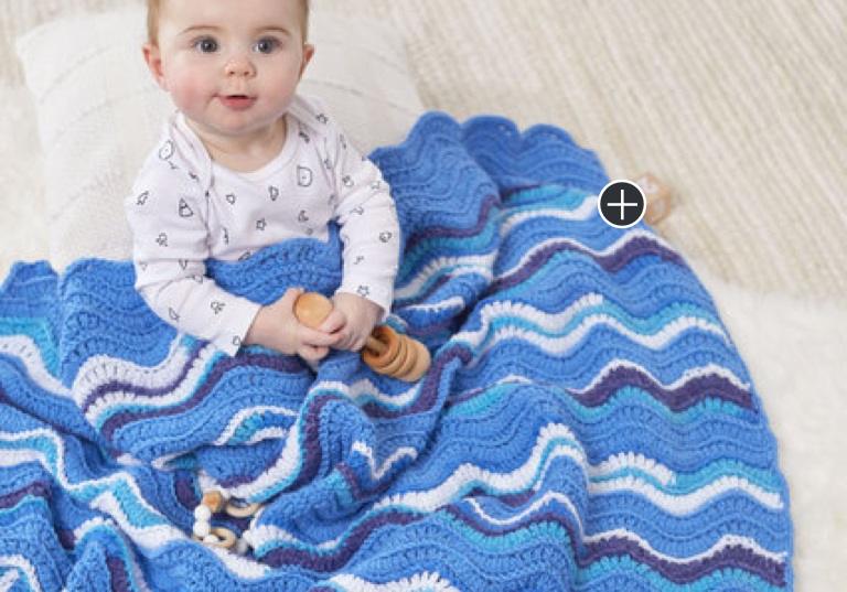 Easy Ridged Ripples Crochet Baby Blanket