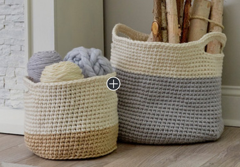 Easy Crochet Color-Block Baskets