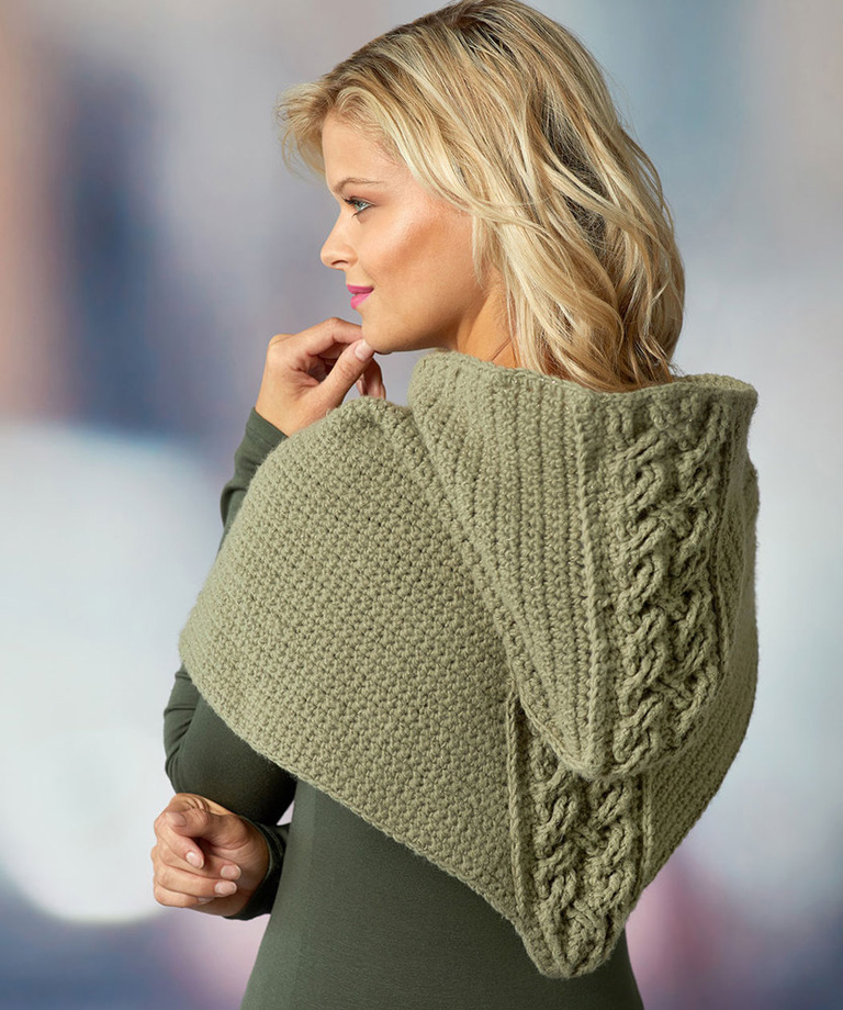 Cabled Hooded Cowl Free Crochet Pattern LM6196
