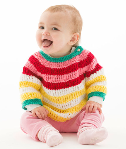 Colorful Striped Pullover Free Crochet Pattern LW5200