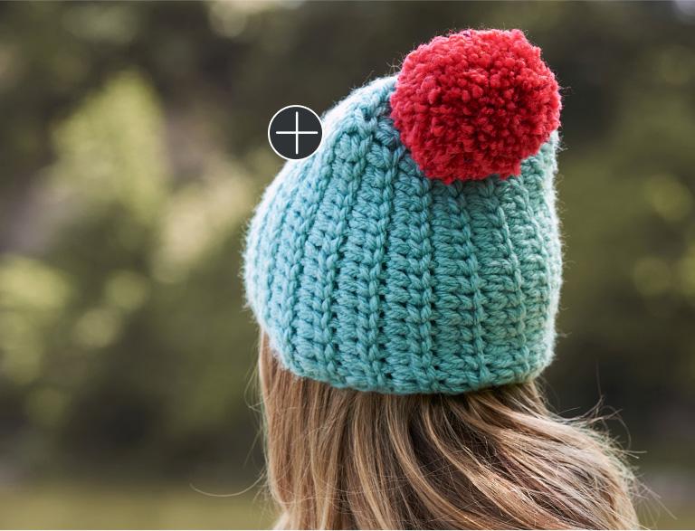 Easy Patons Big Pom Crochet Hat