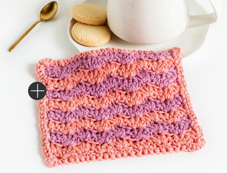 Intermediate Lily Crochet Shell Stitch Dishcloth