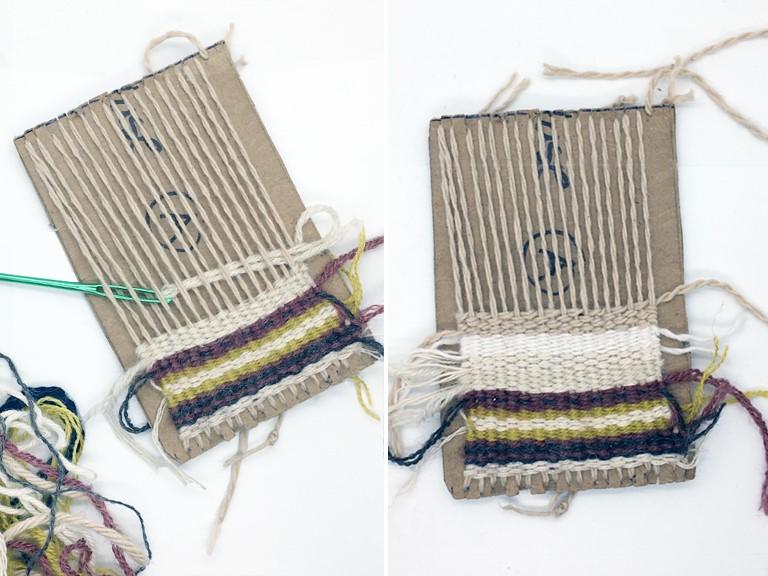 Photo of pattern knitting on cardboard step:2