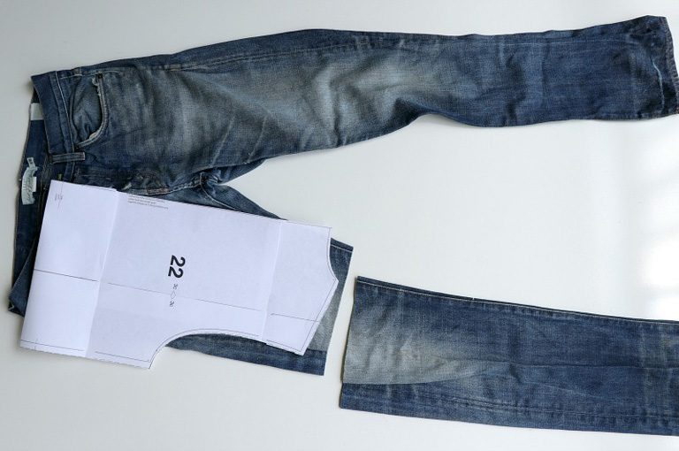 image denim jeans cropped from left side photo