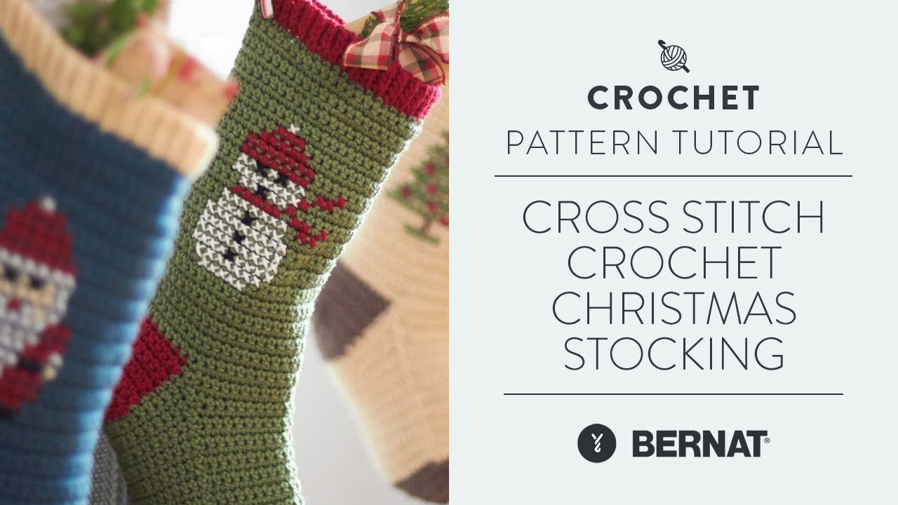 Cross Stitch Crochet Christmas Stocking