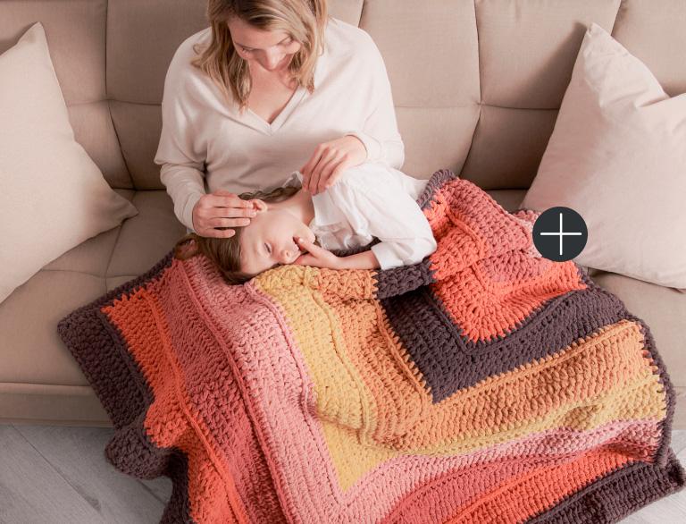 Bernat Striped Steps Crochet Blanket