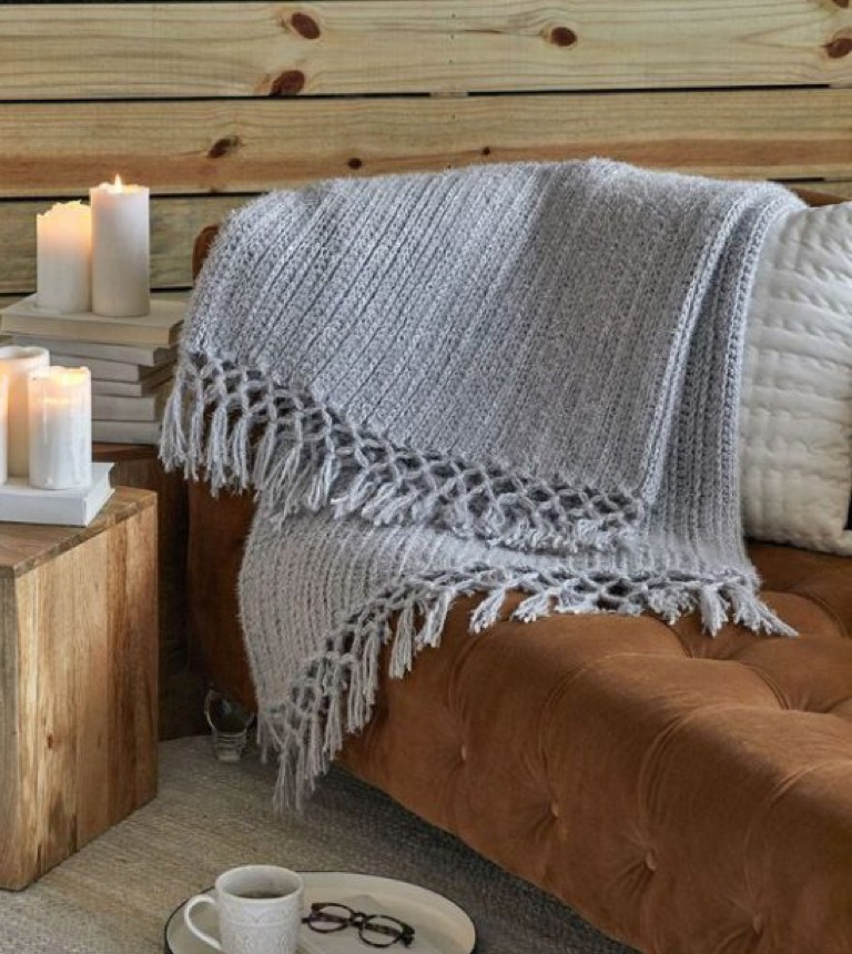 Easy Crochet Cozy Time Fringe Throw