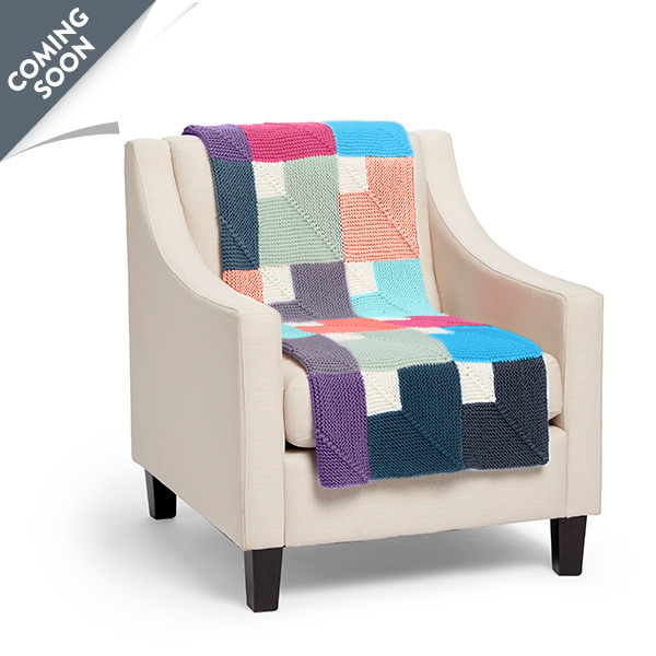 CColor Chip Mitered Knit Blanket Free Pattern