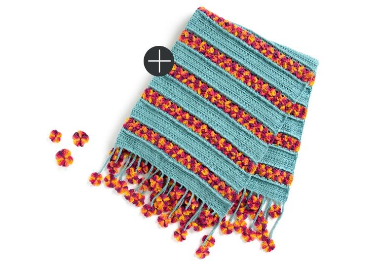 Caron garden flowers crochet blanket