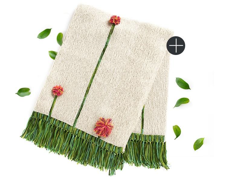 Caron knit pompom poppies blanket