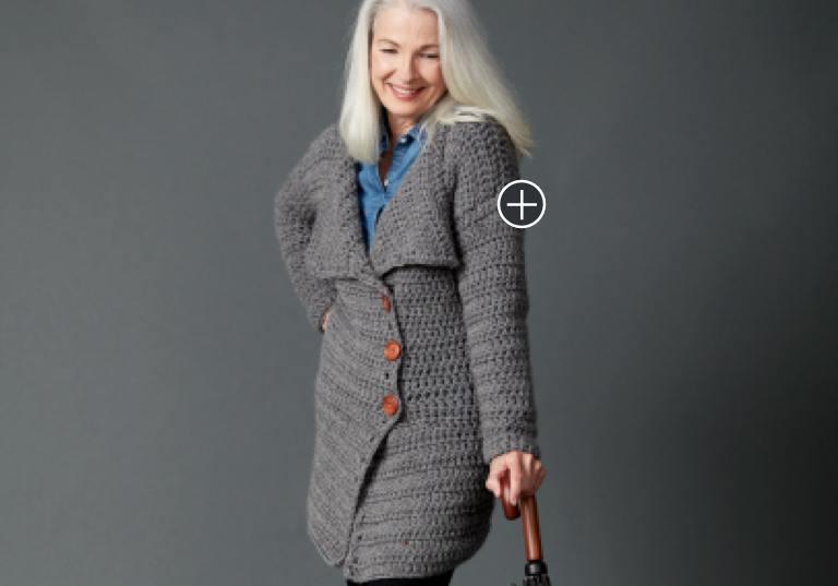 Easy Big Collar Crochet Coat