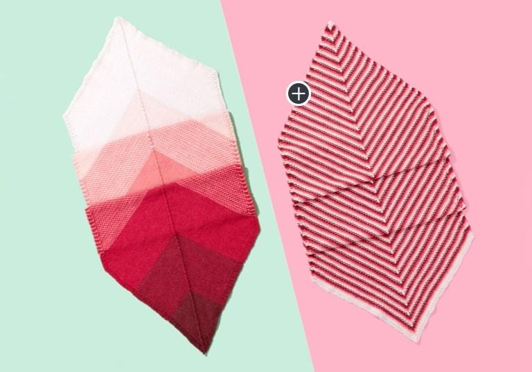Caron x Pantone Bamboo Linen Stitch Knit Mitered Wrap