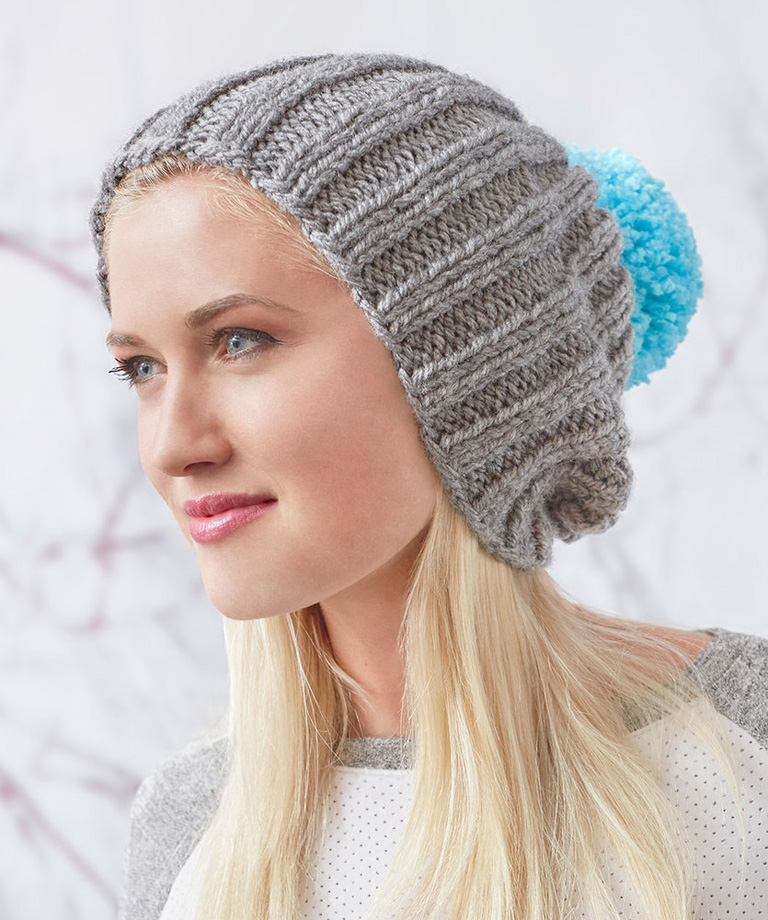 Slouchy Ribbed Knit Hat Free Pattern LW5831
