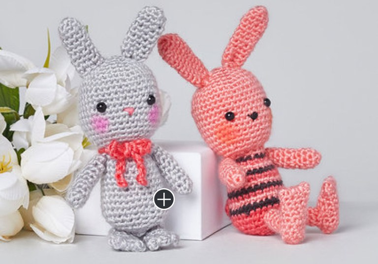 Easy Beatrice and Basil Crochet Bunnies