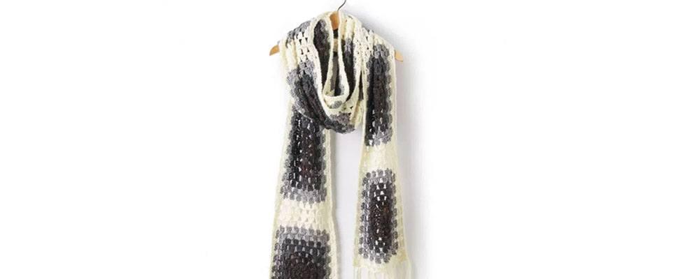 Granny Square Super Scarf in Caron Simply Soft yarn