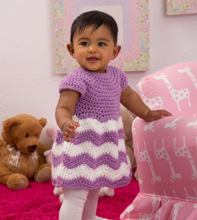 Left-Hand Crochet Chevron Baby Dress Tutorial