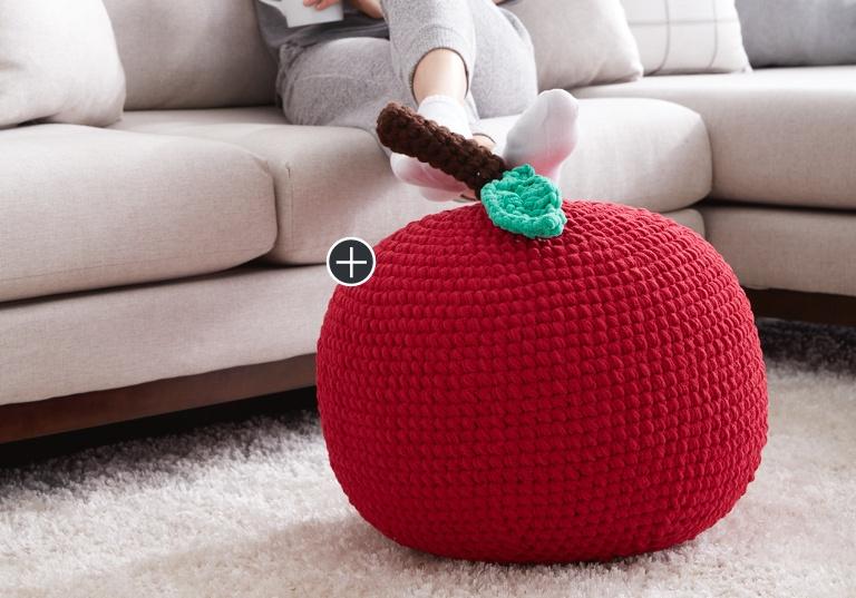 Easy Apple A Day Crochet Pouf