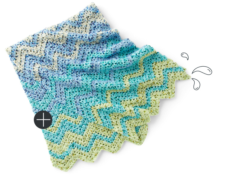 Caron Fading Colors Zig Zag Crochet Afghan