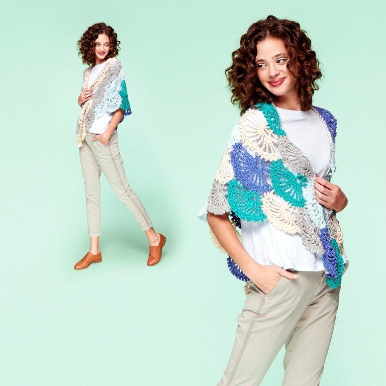 Caron x Pantone Bamboo Lace Fans Crochet Shawl