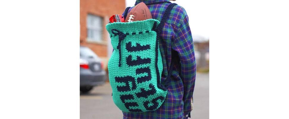 My Stuff Backpack in Lily Sugar'n Cream yarn
