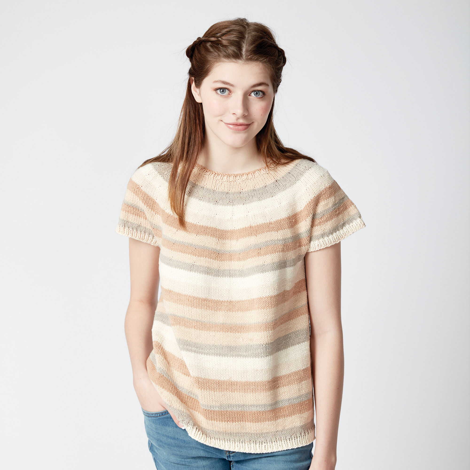 Caron Top Down Knit Pullover