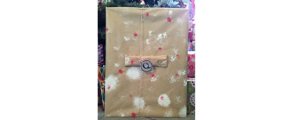 Painted Gift Wrap with Snowball Pompoms!