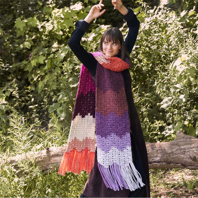 Easy Caron Crochet Big Bargello Bands Scarf