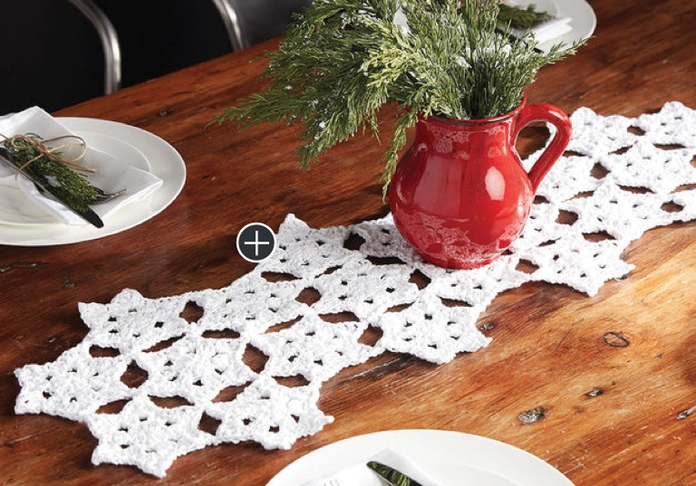 Easy Starflake Crochet Table Runner