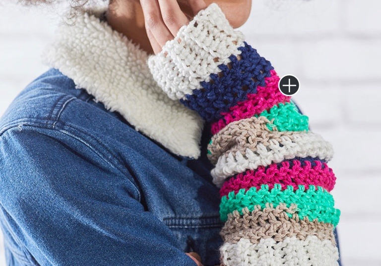 Easy Crochet Stripes Arm Warmers