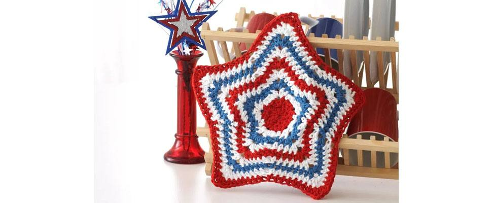 Stars and Stripes Dishcloth made out of Lily Sugar'n Cream yarn