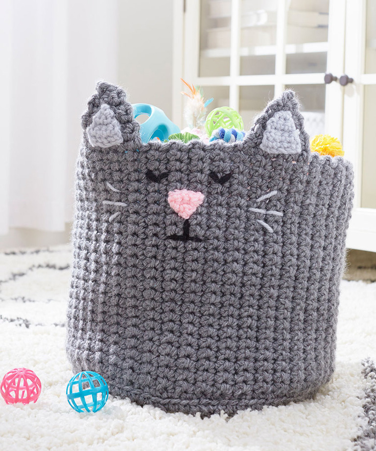 Kitty Toy Basket Free Crochet Pattern LW6146