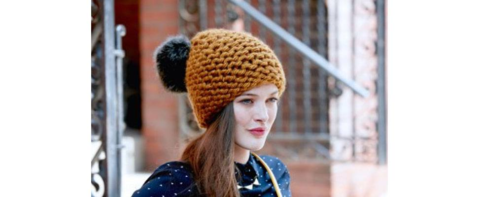 Garter Knit Hat in Bernat Mega Bulky yarn