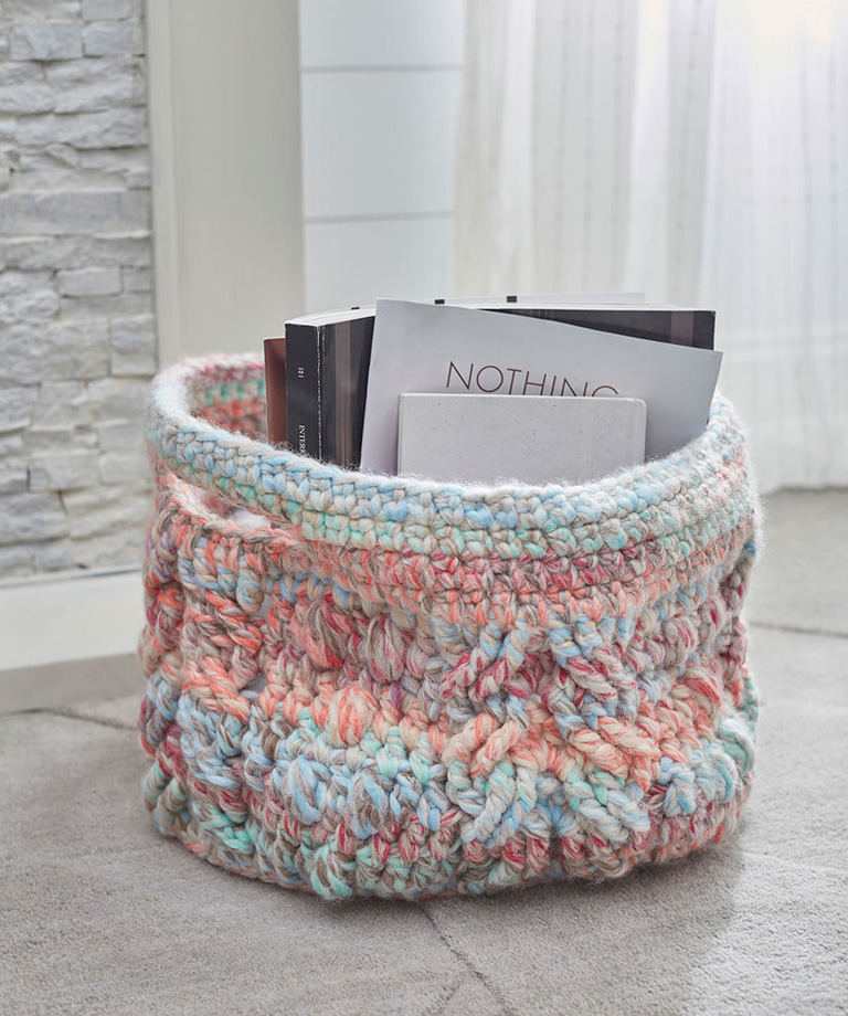 Cabled Basket Free Crochet Pattern LM5883