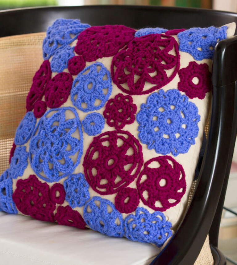 Easy Crochet Circle Motif Pillow